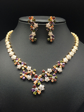 2017 NEW FASHION,luxury colorful five leaves flower zircon golden necklace earring set,wedding bride party dress banquet jewelry