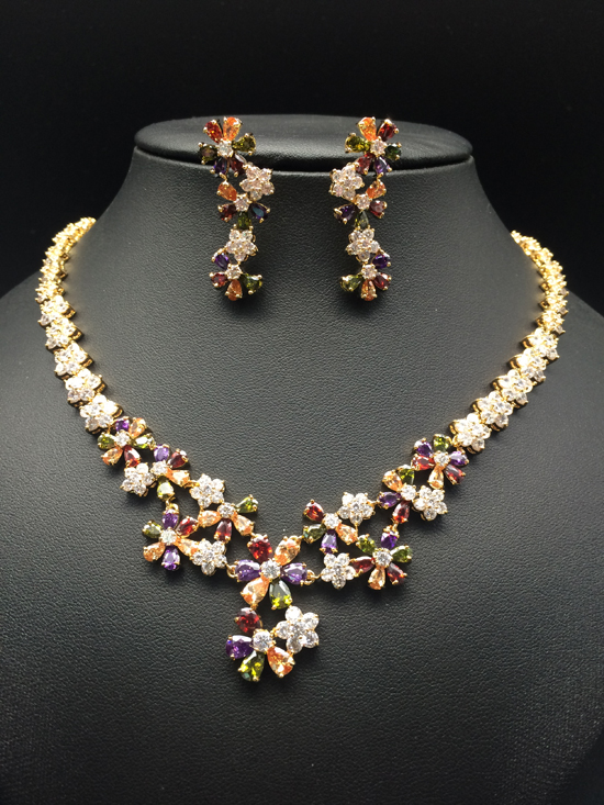 2018 NEW FASHION,luxury colorful five leaves flower zircon golden necklace earring set,wedding bride party dress banquet jewelry