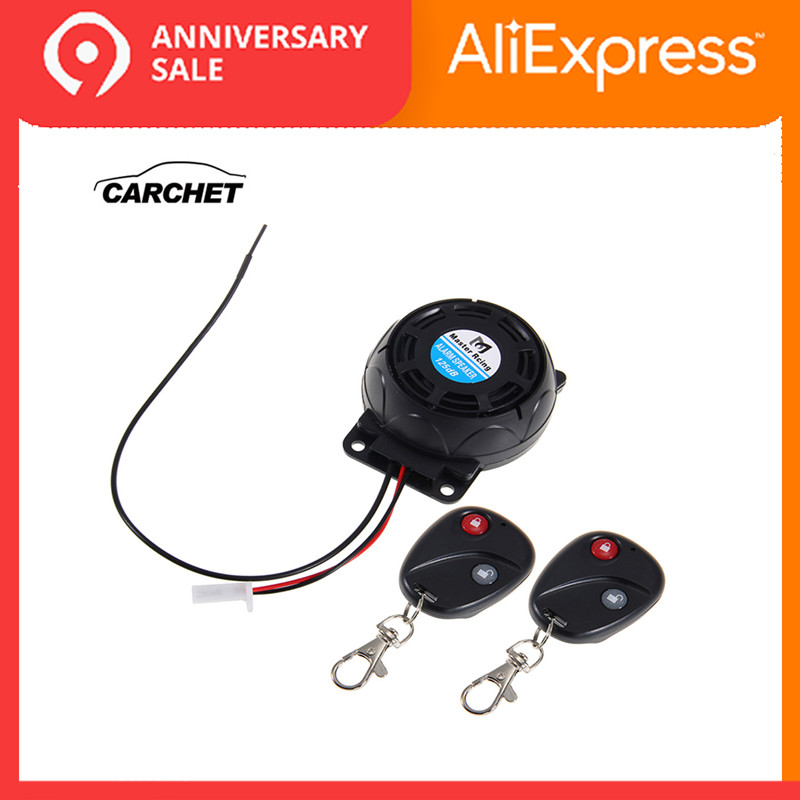 CARCHET Motorcycle Alarm 2 Remote Controls Anti-theft Security System Vibration Lock Burglar Alarm Dual Remote Control Sensor