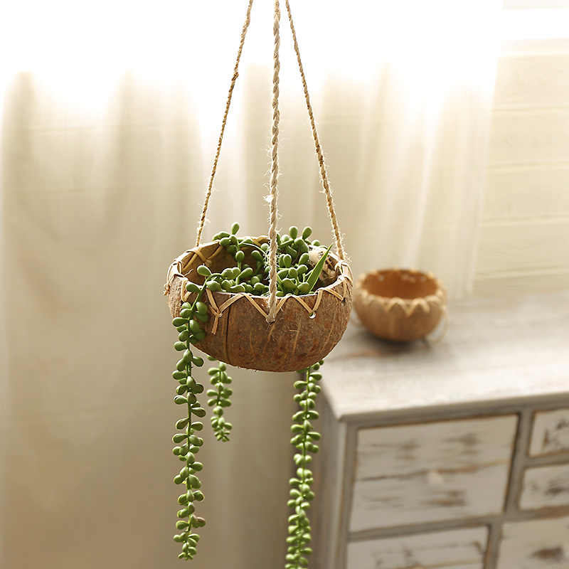 Kreatif Batok Kelapa Keranjang Gantung Pot Bunga Balkon Dekorasi