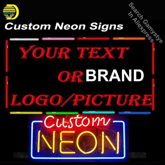 Custom Neon Signs Brand Car LOGO Neon Light Sign Home Beer Bar Pub Game Room Restaurant Display Advertise Glass Tube Design LOGO