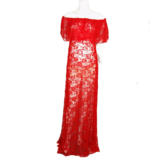 7255bd3f87caa 1Pcs Maternity Dress Lace Slash Neck Polyesterlace Dresses Sleeveless  Photography Props for Pregnant Dress White, Red Clothing