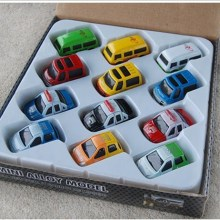 12 pieceset mini assembled pull back toy car model for children colors for bus