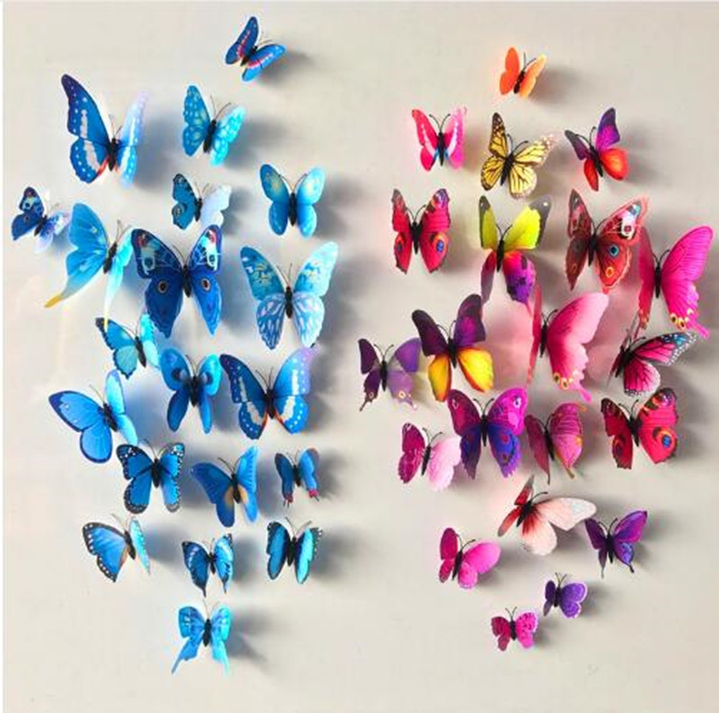 Free shipping 12pcs PVC 3d Butterfly wall decor cute Butterflies wall stickers art Decals home Decoration rysunek kolorowy motyle