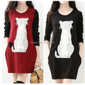 New Plus Size Cute Cats Warm Clothes for Pregnant Women In Winter & Autumn,Causual Maternity Dresses/Dress Clothes