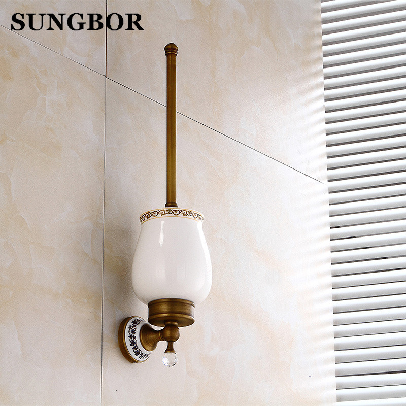 Antique brass bathroom crystal ceramic toilet brush holder suits toilet rack holder Bathroom hardware accessories Toilet brush antique brass bathroom toilet c eaner brush holder archaize toilet rack holder bathroom hardware accessories toilet brush holder