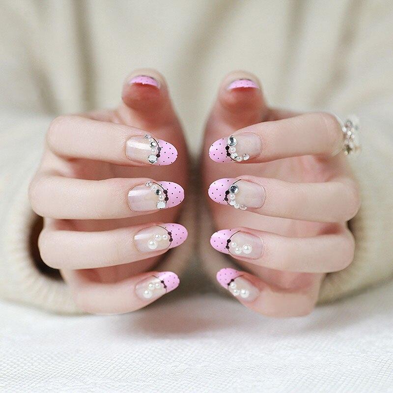 Cute pink pearl kawaii woman false nail finger tips nail salon ...