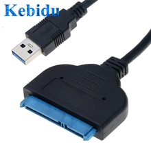 "Kebidu USB 3.0 כדי Sata 2 5 ""אינץ 7 + 15pin כבל 25CM HDD SSD נהג מתאם ממיר עבור מחשב PC סיטונאי"