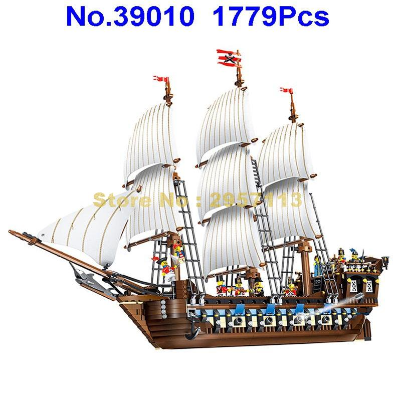 WAZ 39010 1779pcs Pirate Of The Caribbean Ship Imperial warships Lele Building Block Compatible 10210  22001 Brick Toy new lepin 22001 pirate ship imperial warships model building kits block briks toys children gift compatible 10210 educational