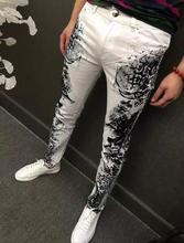Spring thin doodle print flower buds colored drawing straight jeans mens slim elastic denim pants male