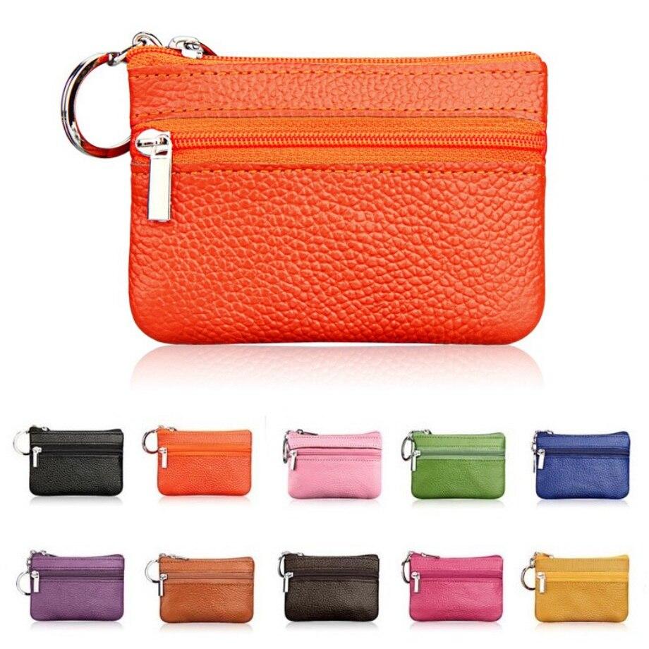 2018 New Brand Men Soft Genuine Leather Card Holder Women Coin Purse Key Holder Zip Wallet Pouch Bag Purse