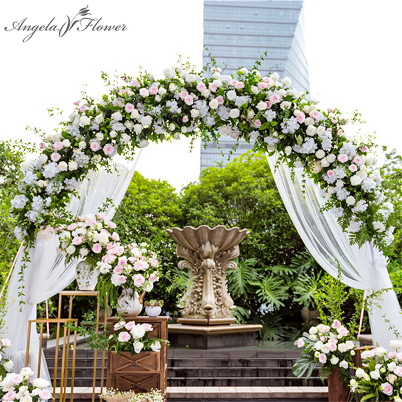 1m backdrop wedding decor artificial flower row arrangement supplies decor wedding iron arch hotel party road lead flowers wall-in Artificial & Dried Flowers from Home & Garden    1
