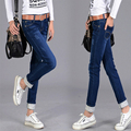 2016 Autumn Winter New Jeans Women Plus Size Cotton Ripped Cuffs Skinny Stretch Long Slim Denim Pencil Pants Hight Quality