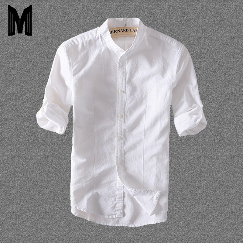 100%Linen Men Casual Shirts Solid White Three Quarter Sleeve Stand Shirts Y1710
