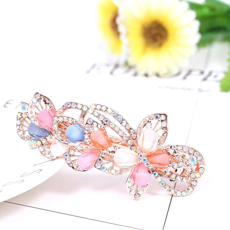 re colorful shine three butterfly rhinestone hairpins for girls hair ornaments woman wedding accessories discount 30