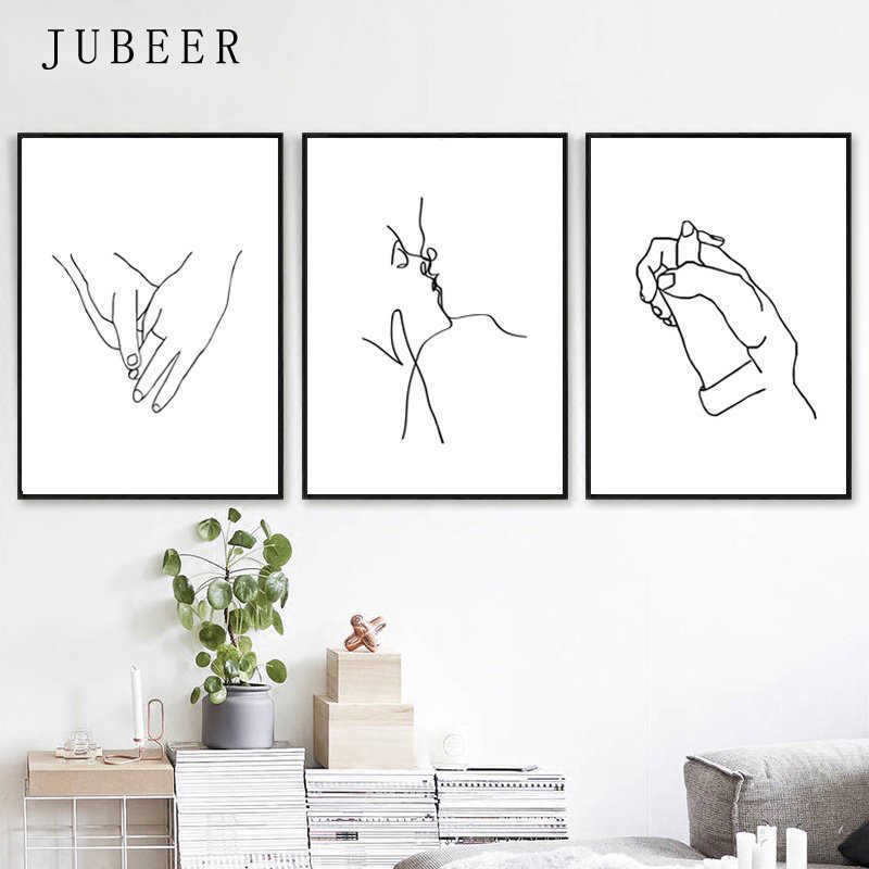 Love Art Line Painting Set of 3 Prints Kissing Art Holding Hands Romantic Gifts Simple Posters and Prints Nordic Decoration Home