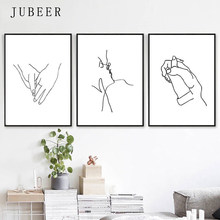 Love Art Line Painting Set of 3 Prints Kissing Art Holding Hands Romantic Gifts Simple Posters and Prints Nordic Decoration Home(China)