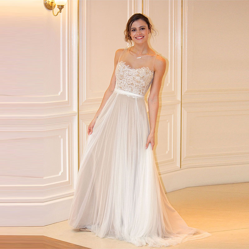 Online Shop MANSA Vestido De Novia Fashionable Lace Beach Wedding Dress Sexy Backless Long Tulle Bridal Gowns Vintage 2015