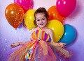 Rainbow Meninas Roupas de verão para o Vestido Da Menina Colorida Bebê Infantil Tutu Vestidos Para Meninas Partido Do Traje Do Arco Para Meninas PT223