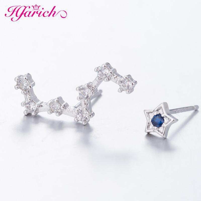 Hfarich Cute 925 Sterling Silver Polaris & Dipper Stars CZ Stud Earrings For Women Children Girls Kids Jewellery Gift Orecchini