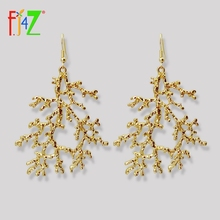 F.J4Z New Women Earrings Designer Golden Alloy Coral Statement Oversize Lady Party Dropshipping Jewelry