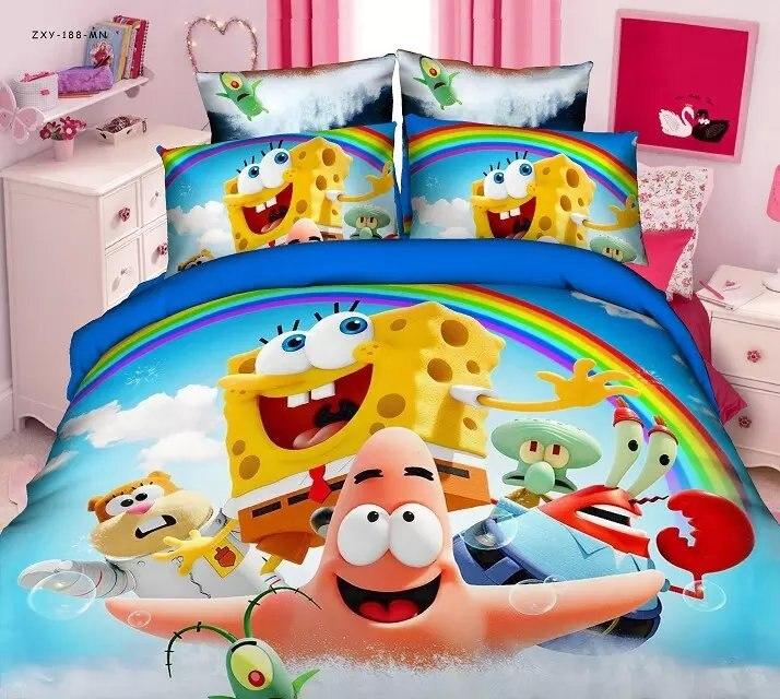 Spongebob Cartoon Bedding Sets For Boy S Children S Bedroom Decor Single Twin Size Bedspread Duvet Covers 3pcs
