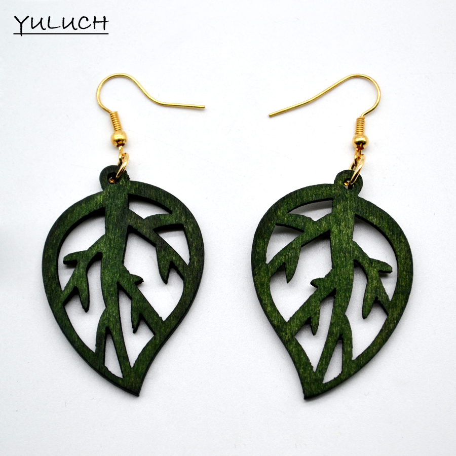 6pair /lot good quality african wood green Leaf earrings jewelry pair 2016 new design personality hollow latest