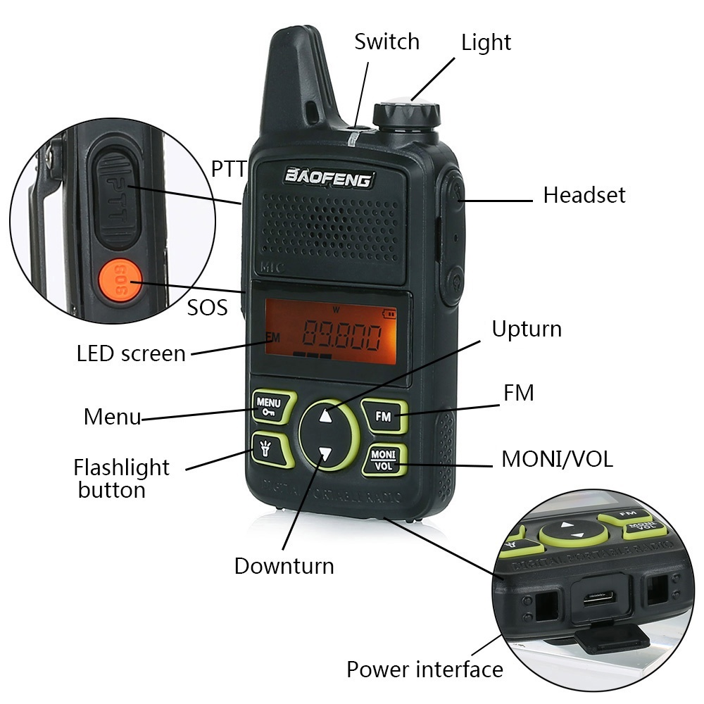 Image 2 - Baofeng Mini Walkie Talkie BF T1 LCD UHF FM Ham CB Radio Two Way Radio for Kids 1500mAh HF Transceiver Interphone-in Walkie Talkie from Cellphones & Telecommunications
