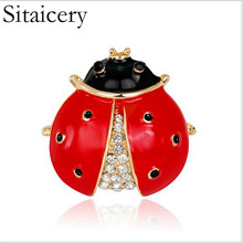 Sitaicery Vintage Crystal Enamel Red And Black Beetle Brooches For Women Man Creative Bugs Pins Fashion Insect Badges Gift