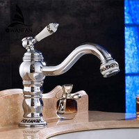 Free Shipping 2014 New Deck Mounted Brass Faucet Bathroom Basin Sink Mixer Tap Chrome Faucet Bath