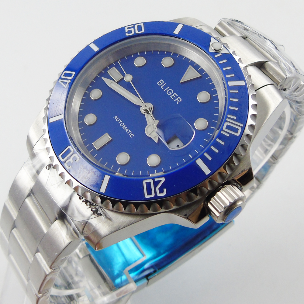 Bliger 40mm blue dial date black Ceramics Bezel saphire glass Automatic movement Men's watch цена