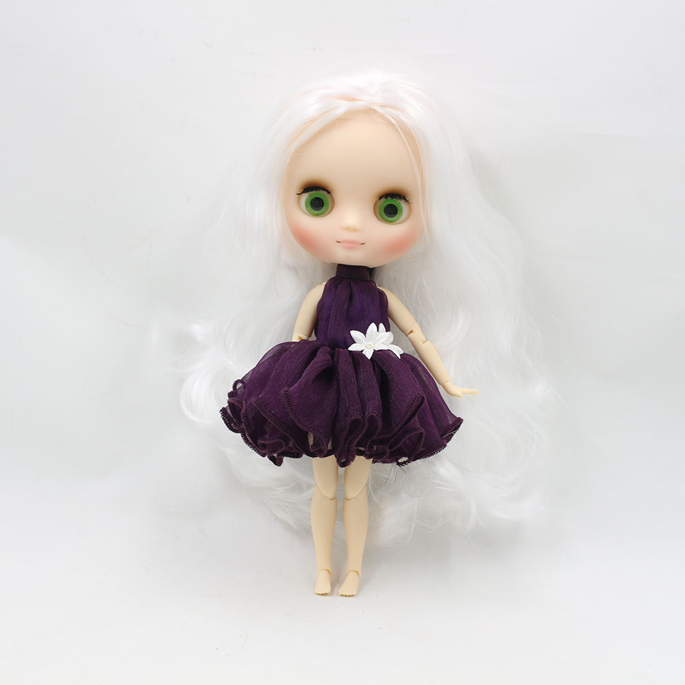No.136 Nude middie blyth joint doll white hair Transparent face suitable DIY gift for girl like the icy doll middle blyth