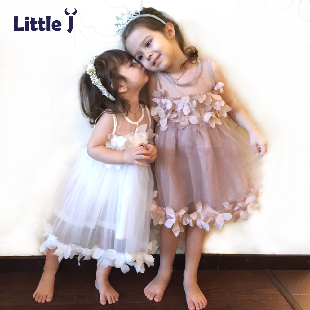 Little J Summer Mesh Vest Girls Dress Baby Girl Lace Princess Dress Sleeveless Kids Clothes Petal Party Children Costumes lace mesh little teenage girls party dress layered spring summer 2017 long girl princess gown dress white pink sundress clothes