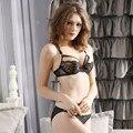 New Sexy Lace tiras Bra cor bloco rendas Push UP tentação transparente calcinha mulheres de lingerie Plus Size