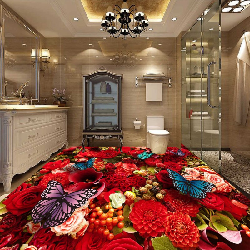 купить Free Shipping custom 3D Stereo Rose Butterfly Floor Wallpaper Living Room Bedroom Hotel Self -adhesive Decorative flooring Mural по цене 7093.63 рублей