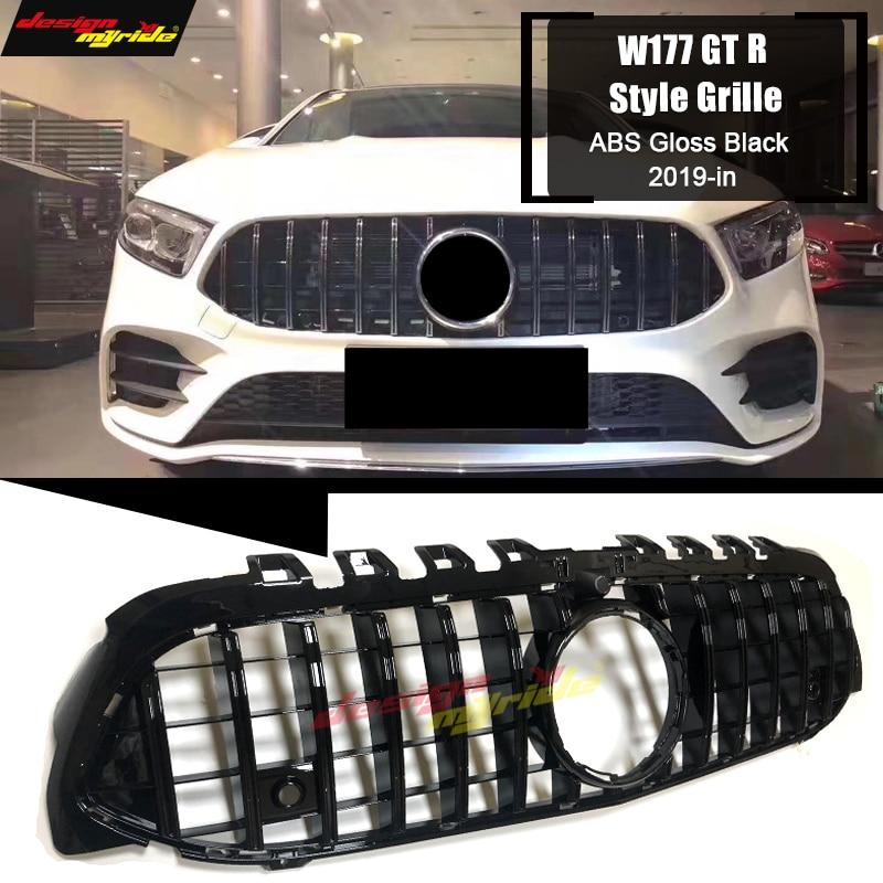 Calandre a-class LCI W177 GT r-style ABS noir brillant avec caméra A180 A200 A250 Sport grilles pare-choc avant maille sans emblème 19 +