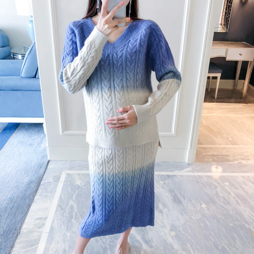 Pregnant women autumn suit fashion models 2018 new gradient color sweater skirt Korean long sleeve loose two-piece suit женское платье lu di poems la1054