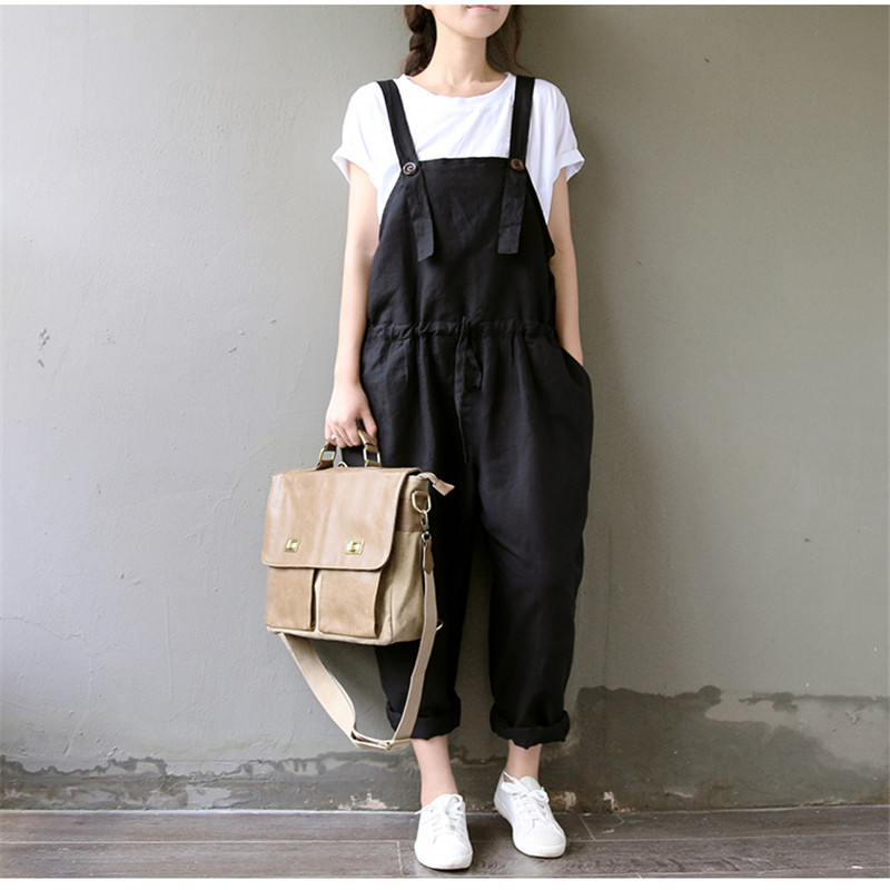 2018 Spring Women Black Rompers Trousers Overalls Cotton Linen Jumpsuits Lady Casual Loose Long Pants Harem Pants Bigsize AB841
