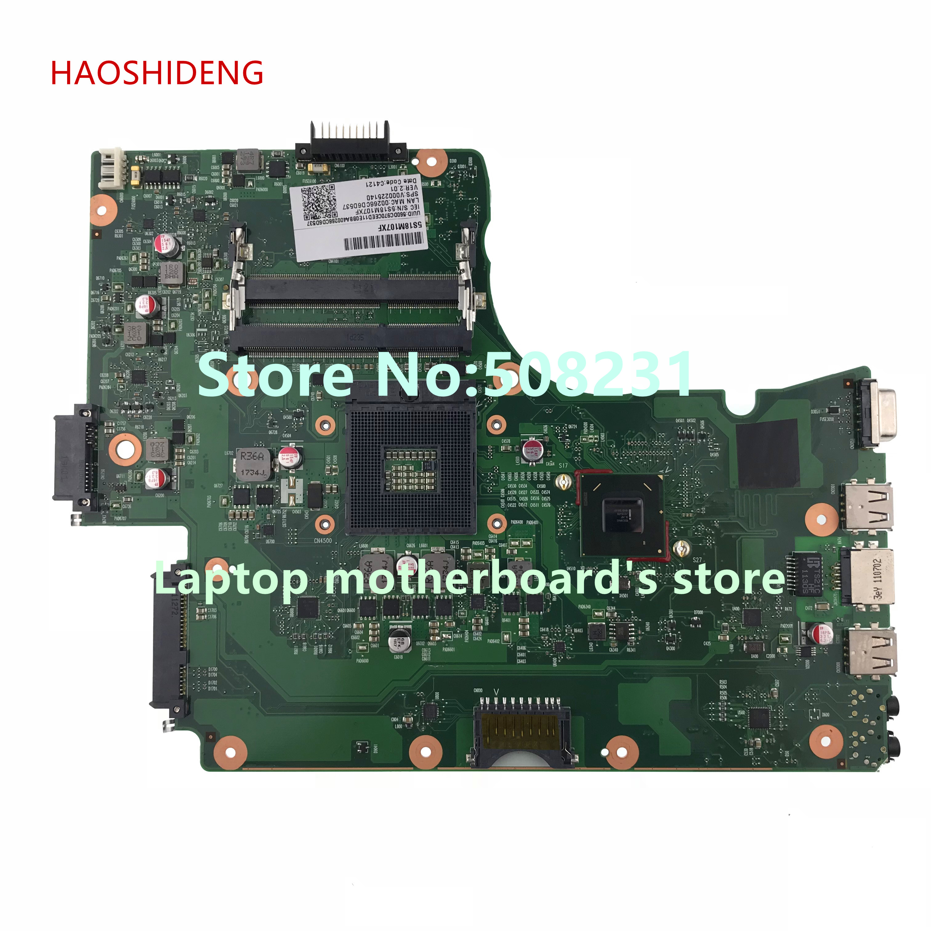 HAOSHIDENG V000225140 mainboard For Toshiba Satellite C650 C655 laptop motherboard MN10R-6050A2423501-MB-A02 for toshiba satellite c655 s5128