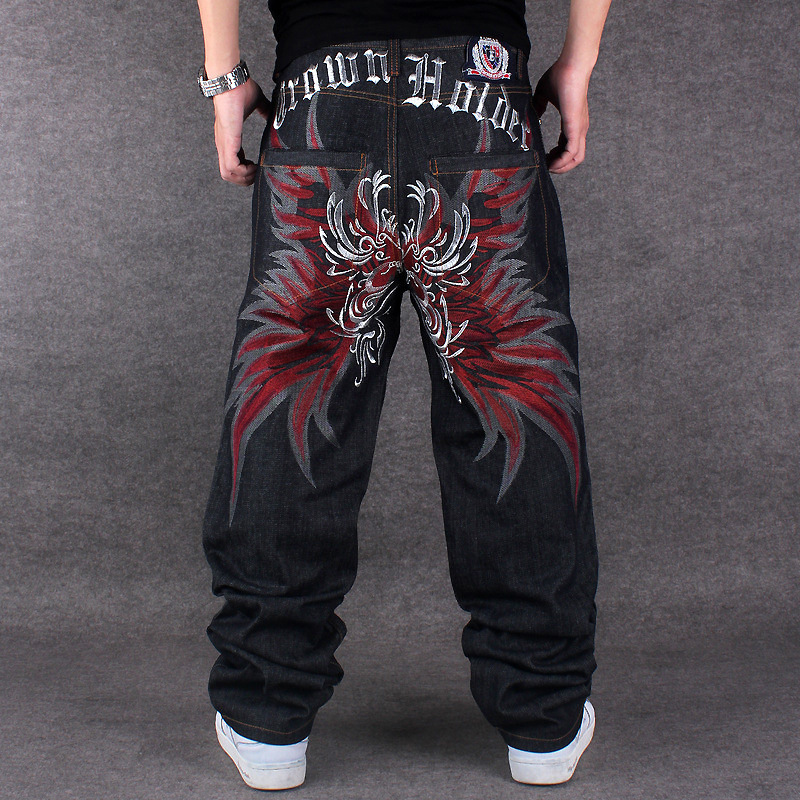 Mens Jeans Top Rushed Stripe 2019 Loose Hip Hop Jeans Men Printed Hiphop Demin Pants Tide Trousers Embroidered Flower Wings