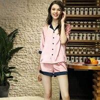 Summer Girl Pajama Set Women Sleepwear Silk Pajamas Nightwear Shorts Pajama Suit Night Suit Silk Lingerie Pink Set Sleep Shorts