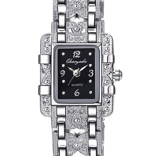 2018 Top Brand Luxury Elegant Style Silver Bracelet Watch Women Ladies Rhineston