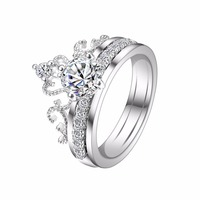 Bella Fashion Sparkling Crown Bridal Ring Set Cubic Zircon Engagement Combination Ring For Wedding Party Jewelry