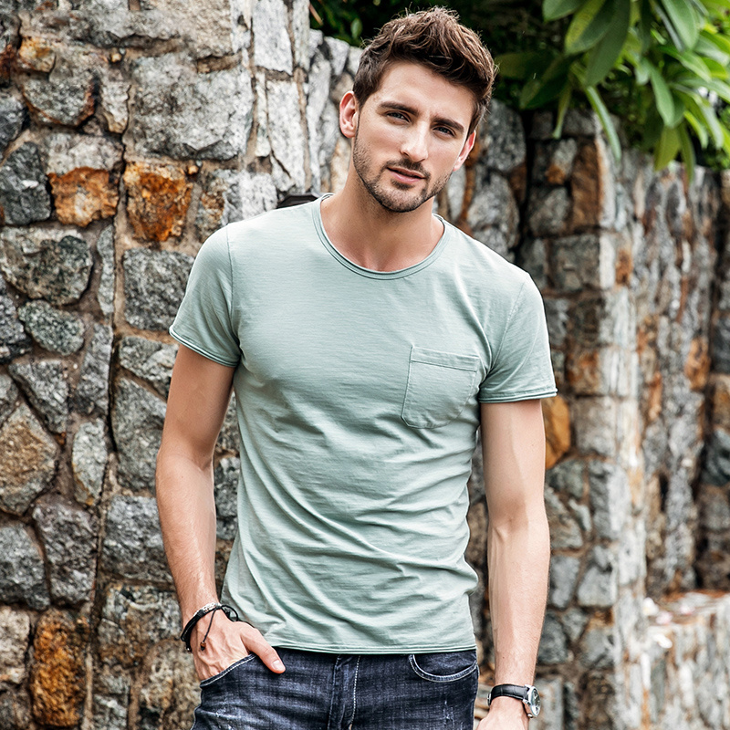 GustOmerD 2018 Summer Men's   T  -  shirt   Brand Men O-neck Slim Fit Mens Short Sleeve Tshirt Men Pocket Design Casual Tee   Shirt   Men