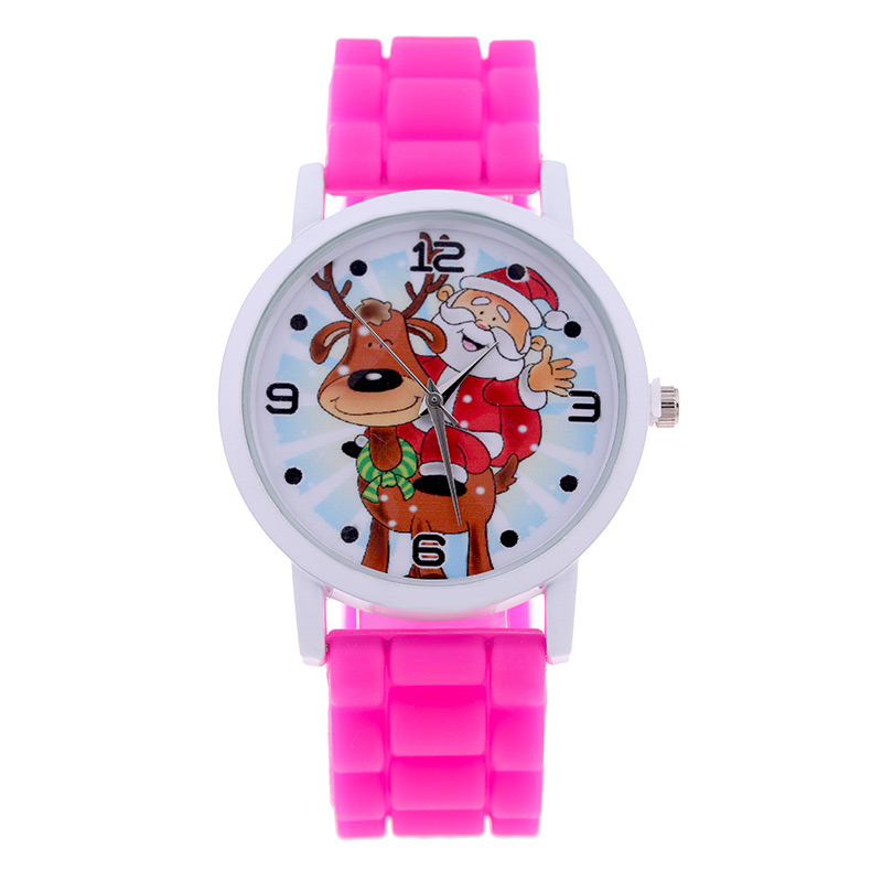 Fashion Christmas Gift Jelly  Christmas Bracelets Santa Claus  Silicone  Gift Quartz Wrist Watch LXH