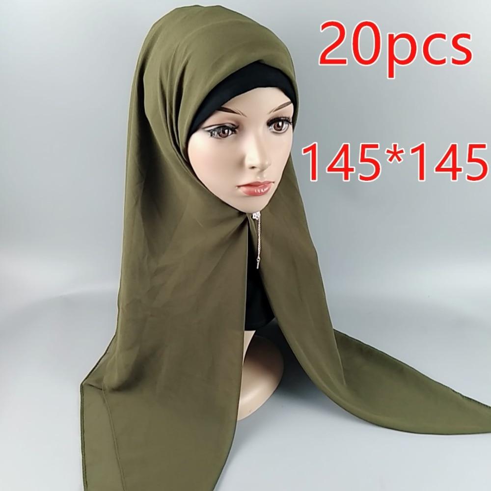 H5 20pcs High Quality Square Chiffon Hijab 145 * 145cm Wrap Shawls Women Scarves Long Scarf Shawl Top Sale