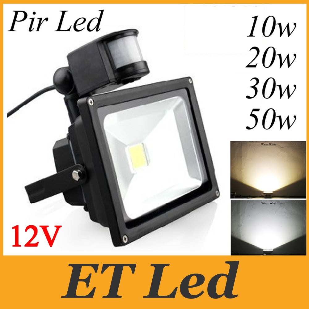 50W LED Floodlight With PIR Motion Sensor Pure White Security Garden Outdoor