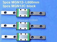 12mm linear guide MGN12 L600mm linear rail with MGN12C linear carriages block for CNC DIY and 3D printer XYZ cnc