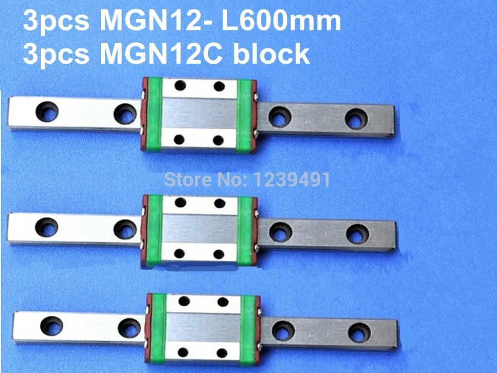 12mm linear guide MGN12 L600mm linear rail with MGN12C linear carriages block for CNC DIY and 3D printer XYZ cnc 12mm linear guide mgn12 l 500mm linear rail with 2pcs mgn12h linear carriages block for cnc diy and 3d printer xyz cnc