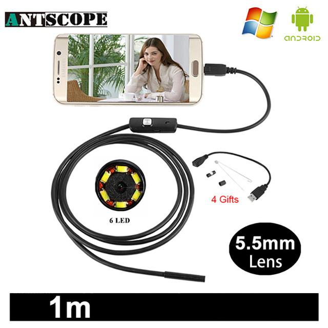 Antscope 7mm/5.5mm 1M Endoscope Mirco USB 2m 6LED Endoscope Camera Android Waterproof Pipeline PCB PC Inspection Mini Camera
